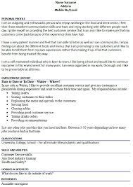 Example Of Waiter Resume by Agreeable Waiter Resume Sample Dazzling Resume Cv Cover Letter