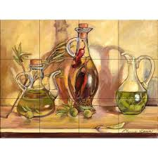 kitchen backsplash murals the tile mural store olive oil jars 17 in x 12 3 4 in ceramic