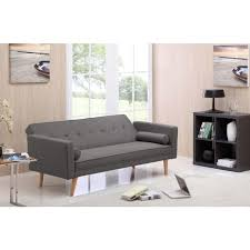 grey futon sofa bed couch in hopsack fabric buy sofa beds