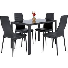 Glass Topped Dining Table And Chairs 5 Dining Table Set W Glass Top Leather Chairs Black