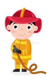 smiling boy fireman uniform hose stock vector