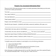 Property Information Sheet Template Tax Assessment On Property