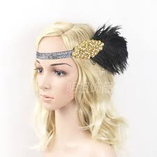 retro headbands cheap feather hair band fascinator decorative rhinestone