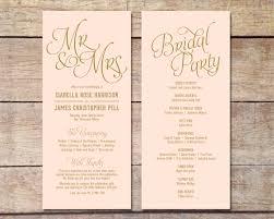 Wedding Ceremony Program Ideas Blush Pink U0026 Gold Wedding Program Classic Glam Customizable