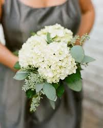 hydrangea bouquet large clusters of white hydrangea mixed with seeded eucalyptus