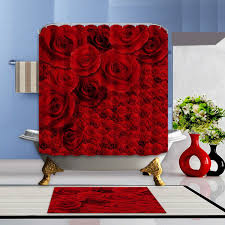 online get cheap bathroom window shower curtain aliexpress com bathroom shower curtain and mat set newest red valentine s day waterproof polyester fabric hooks roses