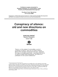 conspiracy of silence old and new directions on commodities