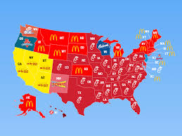 Show Me The Map Of United States by Most Popular Fast Food Restaurants In Every State Business Insider