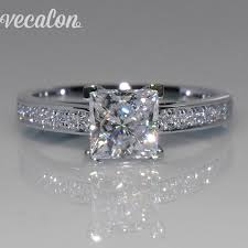 cheap princess cut engagement rings vecalon simple jewelry ring princess cut 1ct aaaaa zircon cz 925
