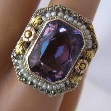 large amethyst diamond white gold art deco 14k white gold amethyst filigree ring seed pearls
