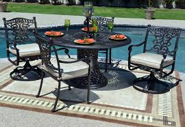 Patio Furniture Swivel Chairs Serena Luxury 4 Person All Welded Cast Aluminum Patio Furniture