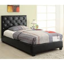 uncategorized black leather headboard wooden platform bed