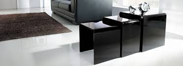 buy nest of tables black glass tables alba small chrome black glass dining table