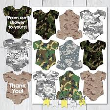 camouflage baby shower printable army camo baby shower mini onesie favor tags