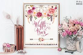 Bridal Shower Dessert Table Boho Waffle Bar Sign Bohemian Floral Bridal Shower Decor