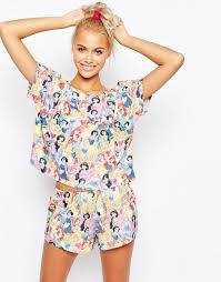 asos asos disney princesses and pyjama set