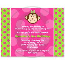 monkey party invitations pink
