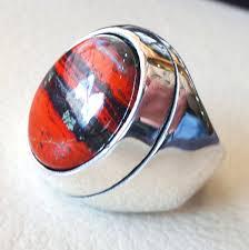 all red rings images Snake skin jasper stone natural gem sterling silver 925 heavy ring jpg