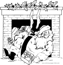 santa fireplace color christmas coloring pages