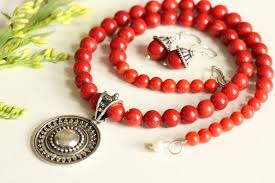 red necklace online images Buy ethnic red coral gemstone silver beaded necklace earrings set jpg