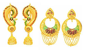 peacock design earrings in gold treditional peacock design multi color combo pack of 2pc gold