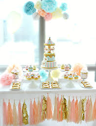 Pink Table L Pink Blue And Gold Carousel Cake Table Birthday