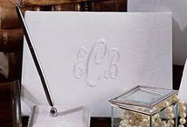 monogrammed guest book white or ivory moire fabric monogrammed guest book and pen set