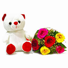Same Day Delivery Gifts Mix Roses With Teddy Online Roses Same Day Delivery Gift My