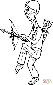 native american with a bow coloring page free printable coloring