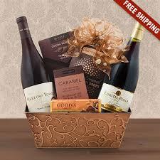 wine gift baskets free shipping pinot noir duo wine gift basket winebasket