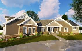2 bed craftsman ranch with 3 car garage 62643dj architectural