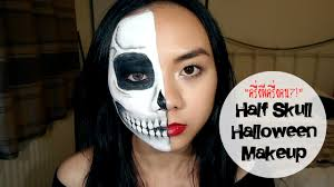 half halloween makeup แต งหน า คร งผ คร งคน half skull halloween makeup youtube