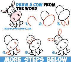 how to draw a cute cartoon kawaii chibi cow word toon easy step
