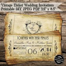 vintage invitations vintage ticket wedding invitations printable diy jpeg pdf