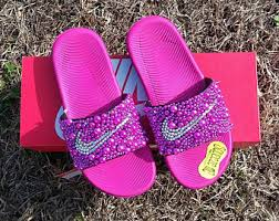 pink slides sale bling nike slide shoes bedazzled slippers custom nike