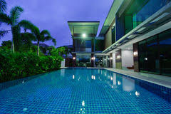 Pool At Night Modern House With Swimming Pool At Night Stock Photo Image 40351241