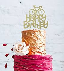 bicycle cake topper lissielou happy birthday bicycle cake topper glittery gold