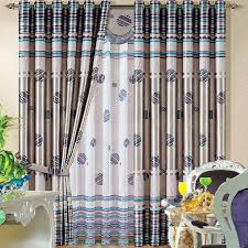 Blackout Curtains Gray Thick Polyester Gray And Blue Stripe Patterns Blackout Curtains