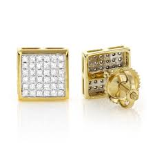 gold diamond stud earrings gold square shaped diamond stud earrings 0 41ct