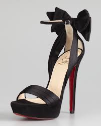 christian louboutin vampanono bow red sole sandal black in black