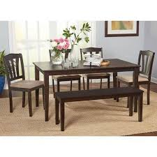 dining room set with bench metropolitan 6 dining set with bench espresso walmart com
