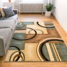 Blue Brown Area Rugs Generations Modern Geometric Circles Light Blue Beige Ivory And