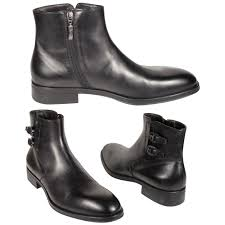 paciotti mens shoes black leather 2 buckle zip boots cpm824