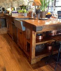 butcher block kitchen island reclaimed granary board center island wood counter sinks and woods