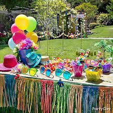 Tropical Party Themes - luau dress up favors display idea totally tiki luau party ideas