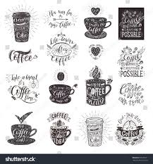 set coffee quotes cup vector handdrawn stock vector 666106231
