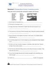 climbing mount everest vocabulary practice 3rd 4th grade
