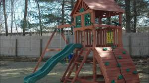 Wooden Swing Set Canopy by Furniture Gorilla Playsets Navigator Swing Set With Wood Roof