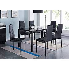 modern glass dining table quilted merax 7 glass top dining set table chair sets