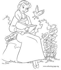 belle reading book surprised bird